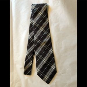 Burberry nova check black & silver silk tie